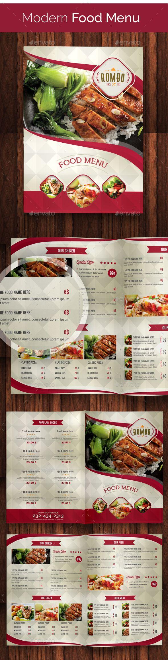 Modern Food Menu Template PSD #design Download: http://graphicriver.net/item/modern-food-menu-02/14121673?ref=ksioks