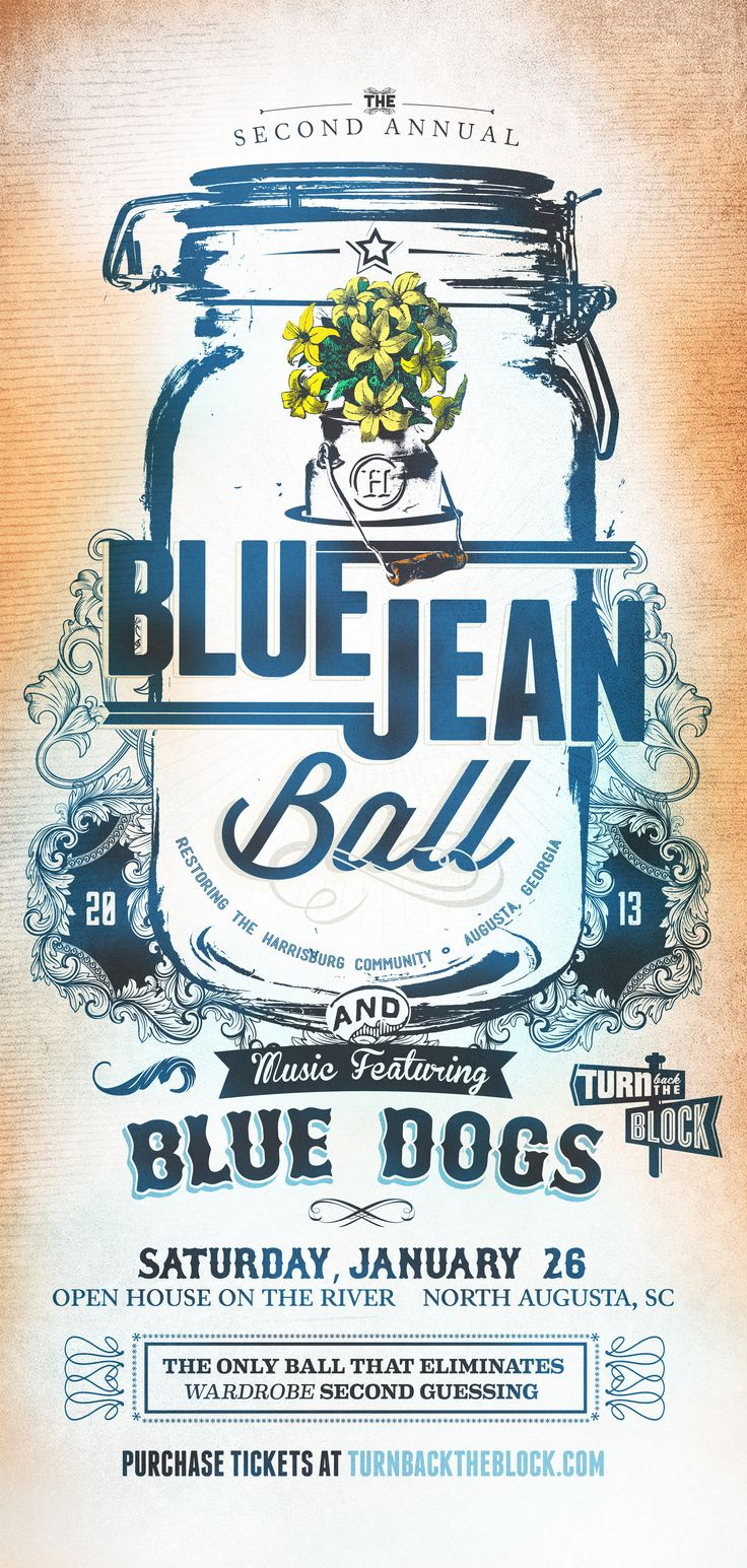 Blue Jean Ball #Blue #Dogs #party #poster