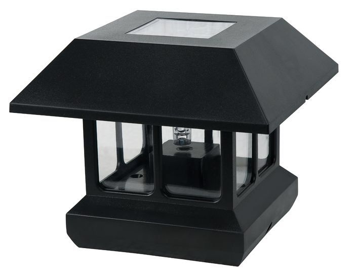 """Features:  -Solar panel in top of light. Can be used to mount to a 4"""" x 4"""" post or can be a walklight when used with included post and spike.  -Made of solid plastic with a clear lens.  -Bright White"""