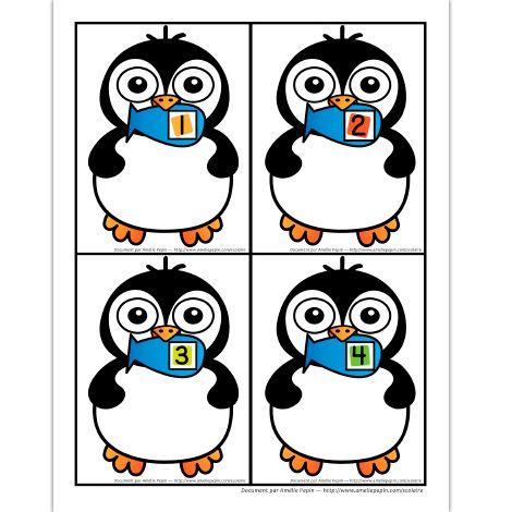 Fichiers PDF téléchargeables Versions en couleurs et en noir et blanc 5 pages, 4 manchots par page Les élèves doivent dessiner ou placer le nombre d'objets indiqué sur le poisson dans le bedon du manchot. Le document contient 20 cartes de 1 à 20 (4 par page, 5 pages). Si vous faites l'activité sous forme d'atelier, je vous suggère de plastifier ce document pour le conserver plus longtemps.