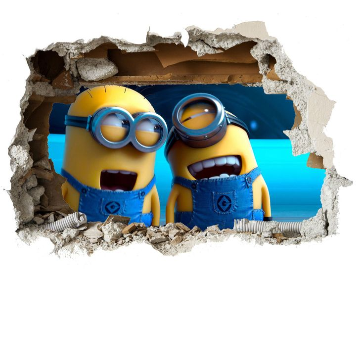 Minions Wall Smash Despicable Me Wall Sticker Kids Childrens Bedroom Vinyl  Art
