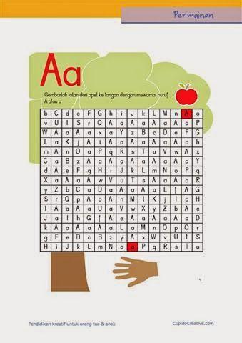 permainan anak untuk PAUD (balita/TK), gambar labirin/maze : huruf A