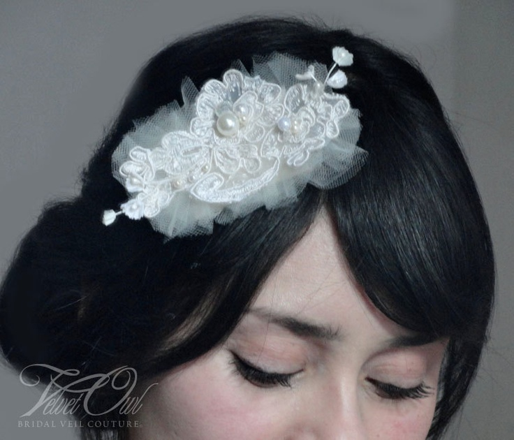 Bridal Alencon lace hair comb available in several colors- MECIA clip or comb. $46,00, via Etsy.