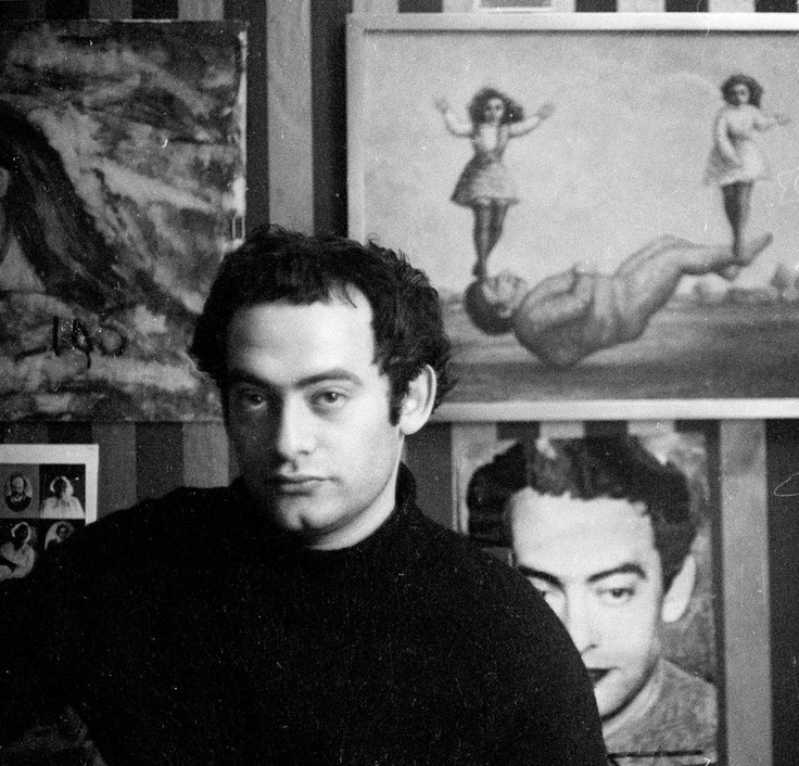 Roland Topor (1938-1997) - French illustrator, painter, writer, filmmaker and actor, known for the surreal nature of his work. Photo by Mario Dondero, 1968