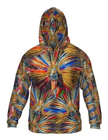 Yizzam- Aztec Tribal Warrior -Allover Print - Mens Hoodie Sweater