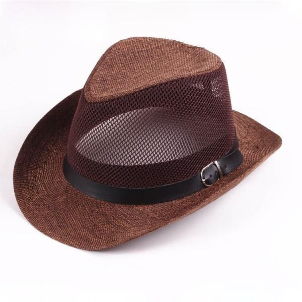 Men Women Mesh Hollow Out Top Hat Wide Brim Breathable Fedora Beach Sun Flax Pan  | eBay