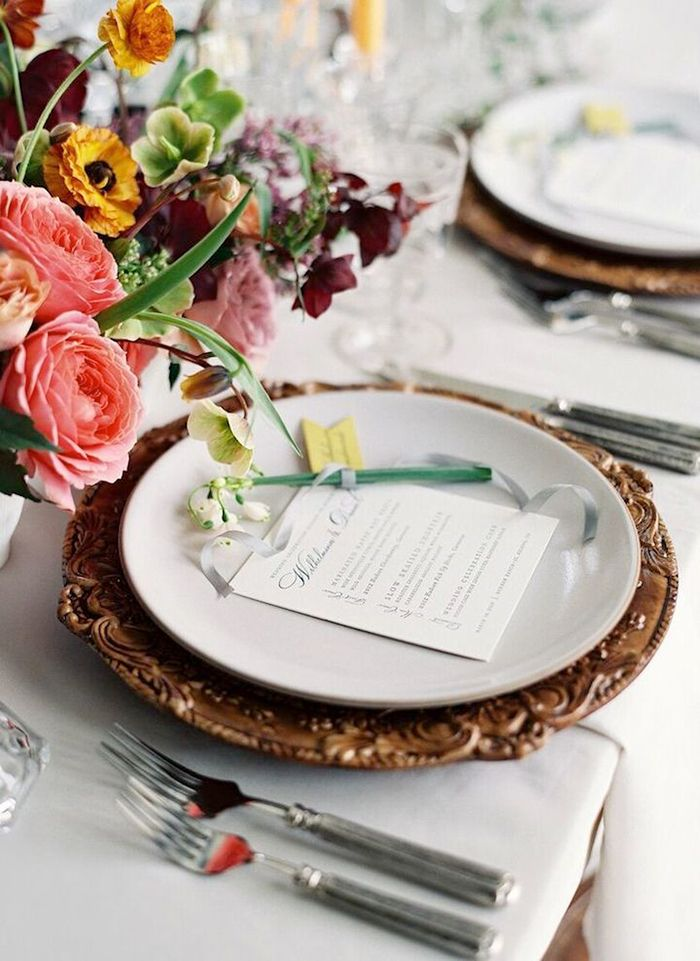 Ornate Bronze Place Setting with Modern Fall Colors