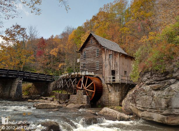 At the end of the 19th century there were more than 500 operational grist mills in West Virginia, USA. Now most of them have either vanished back in to the environment or are idle beside the rushing streams that once powered them. This is Glade Creek Grist Mill. You can see more of this beautiful working mill here www.naturalhomes.org/gladecreekmill.htm