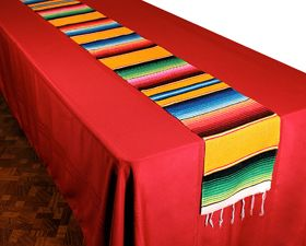 Our Woven Serape Table Runner is our most popular table accessory for Fiesta or Cinco de Mayo.