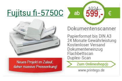 Generaüberholte Dokumentenscanner DIN A3 Fujitsu fi-5750C schon ab 599,00€! Große Auswahl! Zum Onlineshop >>