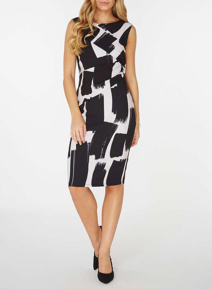 Womens **Lily & Franc Paint Stroke Bodycon Dress- Multi Colour