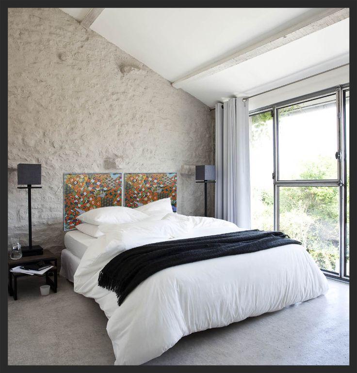 t te de lit d cor chambre peinture et feuilles de cuivre sur bois deco chambre pinterest. Black Bedroom Furniture Sets. Home Design Ideas