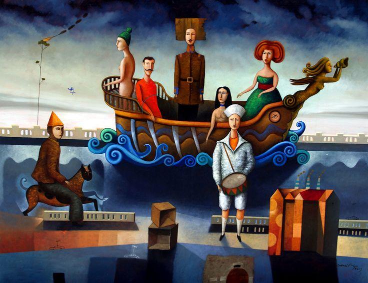 La nave de los pecadores. óleo sobre lino. 140 X 180 cms