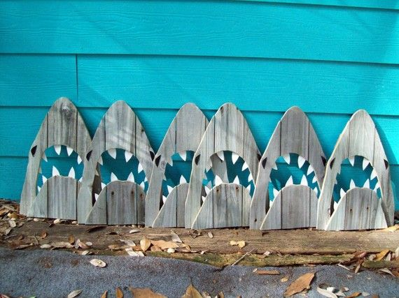 Shark party decor: Outdoor Art, Birthday Parties, Sharks Parties, Sharks Weeks, Shark Party, Parties Ideas, Weeks Parties, Sharkweek, Recycle Wood