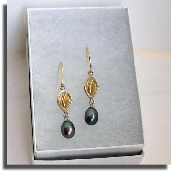 OOAK Keum-boo Leaf Drop Pearl earrings Fine silver 24 Karats Yellow Gold .Earwires Yellow Gold-filled 14/20