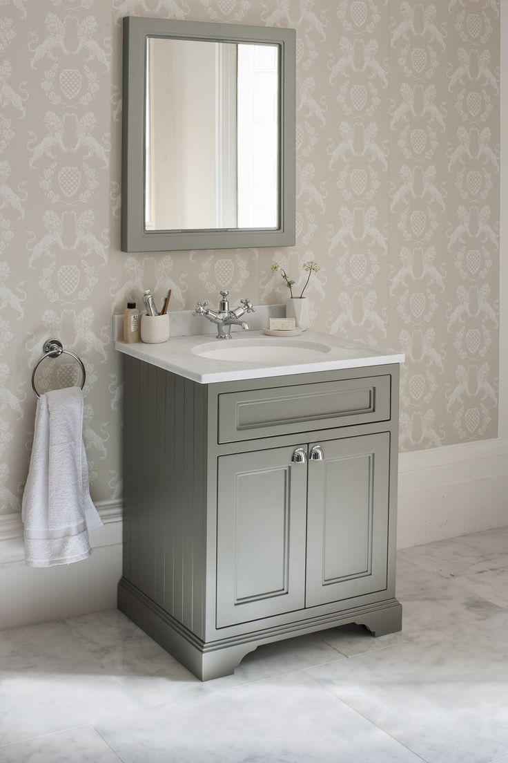 Dark Olive Freestanding 65 Vanity Unit with doors http://www.burlingtonbathrooms.com/Products/ProductDetail?prodId=92575&name=Freestanding%2065%20Vanity%20Unit%20with%20doors%20-%20Dark%20Olive%20and%20Minerva%20white%20worktop%20with%20integrated%20white%20basin%20