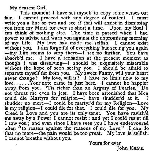 John Keats... now that is a love letter.  ♡
