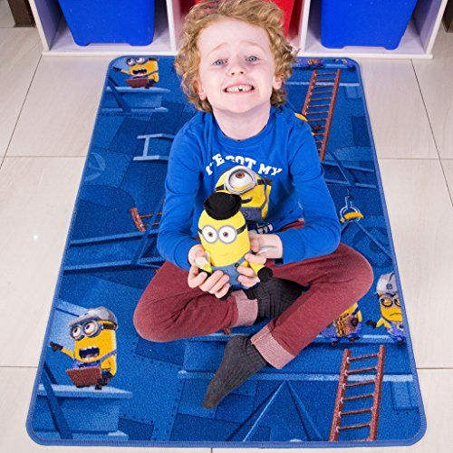 Kids Fun Minions Cartoon Area Rug Playful Blue Yellow Childrens Bedroom Mats 27 x 311 -- Check out the image by visiting the link.