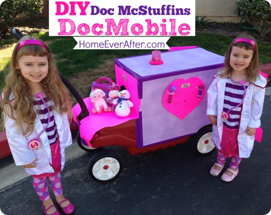 diy doc mcstuffins docmobile out of a red wagon to go with halloween costume home ever after - Disney Jr Halloween Costumes