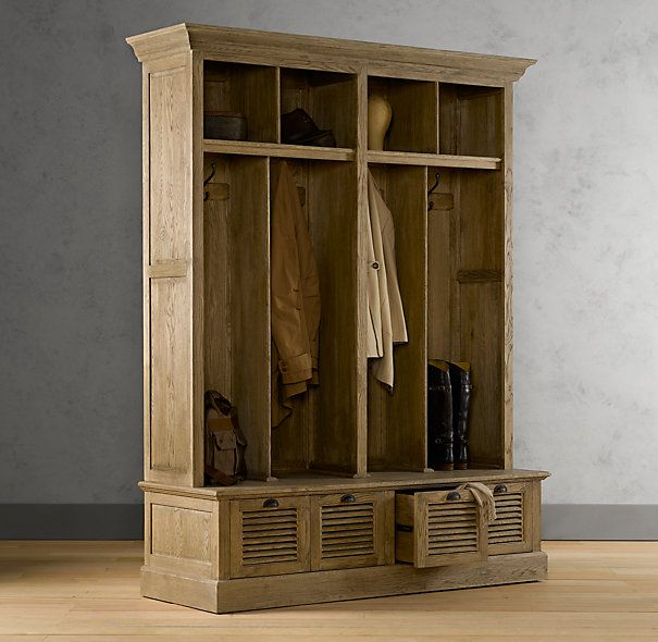 Mudroom cabinet bin entry locker wood shelving Hallway lockers for home