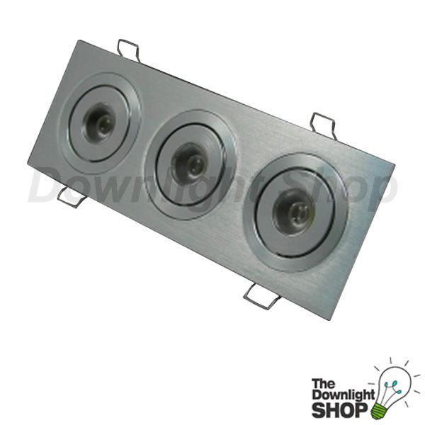 Power Puk White LED downlight, Brushed aluminium 3 x 2 way Tilt adjustable -  $128.99 SAVE: 17% OFF