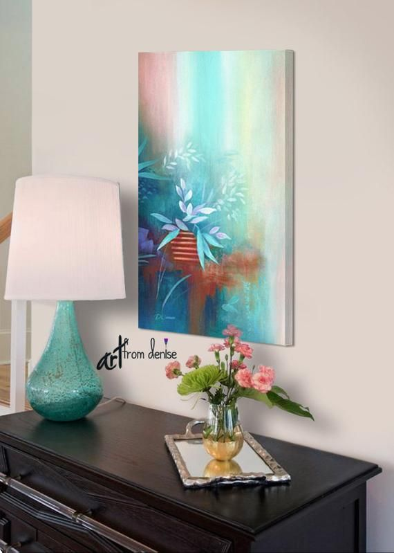 Abstract Floral Painting Tall Vertical Wall Art Canvas Etsy Abstract Floral Paintings Vertical Wall Art Floral Painting
