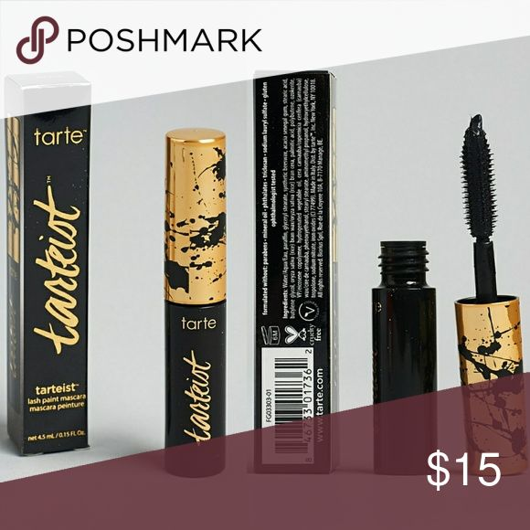 New in box! Tarte tarteist™ lash paint mascara New in box! Tarte tarteist™ lash paint mascara  -cute travel size -What it is: A jet-black, volume-packed mascara so anyone can master the tarte of the fringe.  What it does: Coat lashes in ultra-black, volumized color with just one stroke for thicker, sexier-looking lashes. This amped-up, drama-filled mascara is infused with triple-black, painted mineral pigments. It softens and nourishes lashes as it paints and creates glossy, saturated…