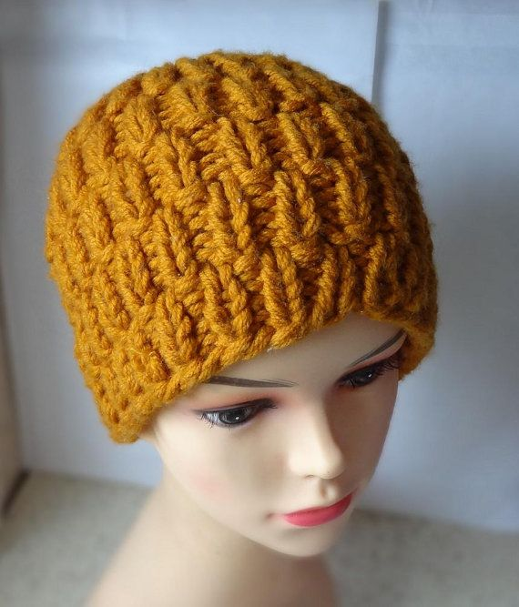 Knit hat Honey Gold Hat  Beanie Chunky Knit Winter by Ifonka
