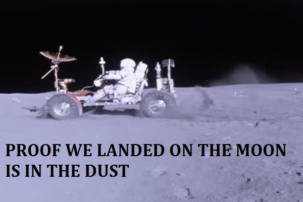 And while scientists have refuted the hoaxers most common arguments like how the Apollo flags apparently wave in a vacuum, there's one interesting way to prove that we did in fact land on the Moon that we don't see all that often: the movement of dust kicked up by the lunar rover on Apollo 16.