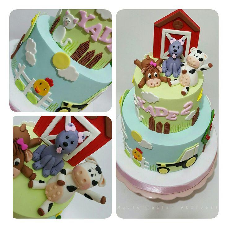Çiftlik temalı doğum günü pastası #sugarpaste #cake #mutlutatlaratolyesi