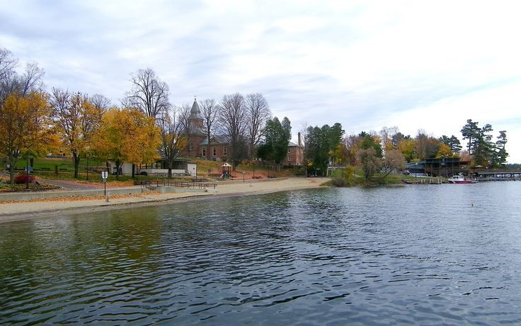 Shores of Lake George village in autumn