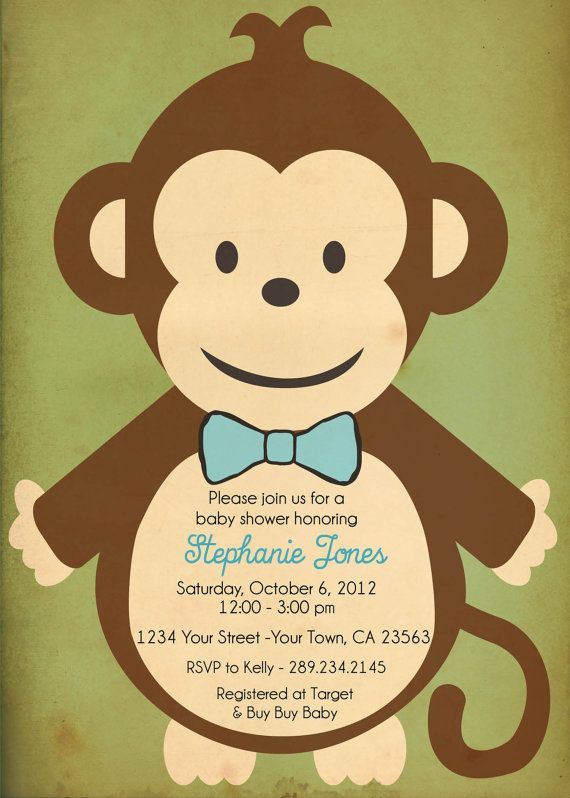 Jungle Baby Boy Monkey Shower Invitation  I by PinkPaisleyDesigns1, $10.00