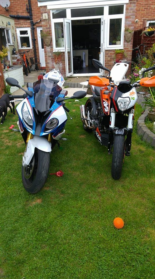 BMW and my Son's KTM duke.  Good looking pair.