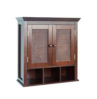 Elegant Home Fashions® Cane 2-Door Wall Cabinet with Cubbies