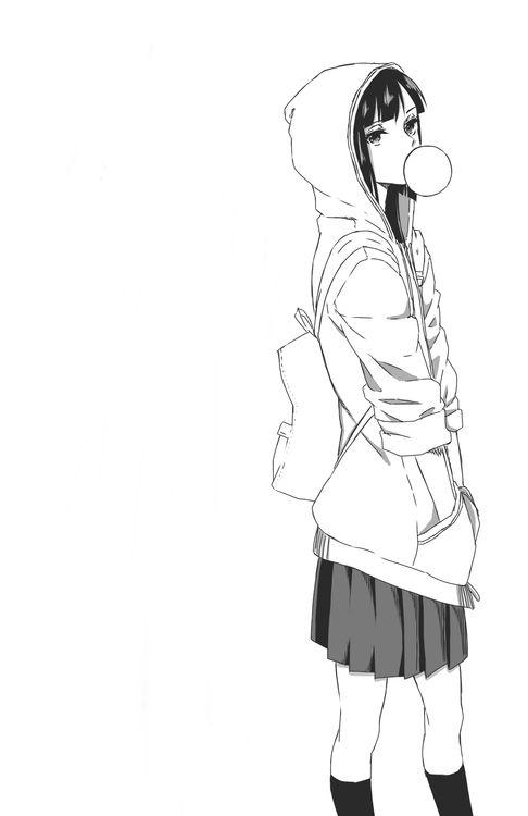 Manga chew gum girl female body pose reference