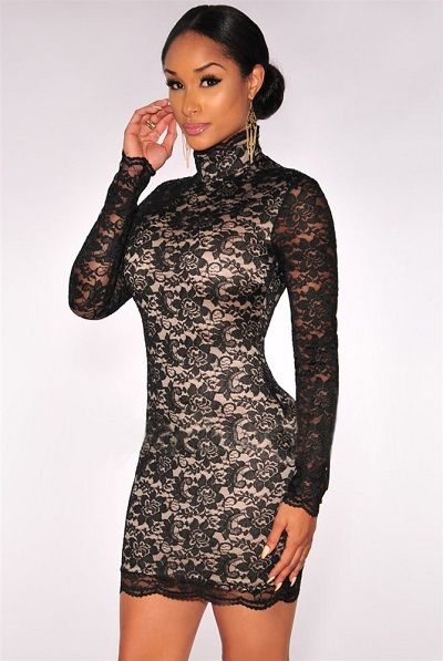 Black Lace Nude Iullusion Mock Neck Dress