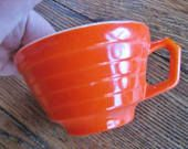 Hazel Atlas Tea Coffee Cup Bright Orange Moderntone Platonite 1940s