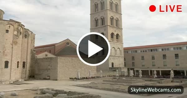 Zadar, view of the Roman Forum and the Cathedral of St. Anastasia from the Archaeological Museum