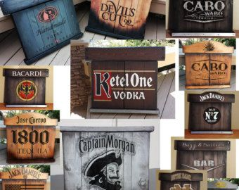 WILL SHIP IF PAYMENT IS VIA CASHIERS OR CERTIFIED BANK CHECK OR CASH PAYMENT IF PICKING UP LOCALLY.  NOTE: Bar back wall in photo is for display / idea purposes only and is not included but bar back walls can be done.  This version is the Jim Beam Devils Cut theme using the burned / charred wood effects which are done with a torch and paints and stains, but can be done with pretty much any colors or themes or plain. All wood bar except for the metal pipe foot rails. Back of the bar ...