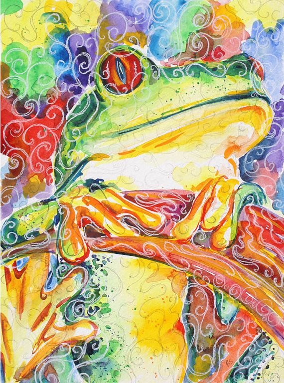 Frog Red Eyed Tree Frog ORIGINAL Watercolor 11x14 by kitsunderland, $195.00