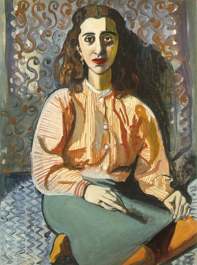 Alice NeelYoung Woman, 1946Oil on canvas (via Neel: Young Woman) 8. The use of chiaroscuro on the woman's face gives her dimension. It also serves to give her outfit visual texture.