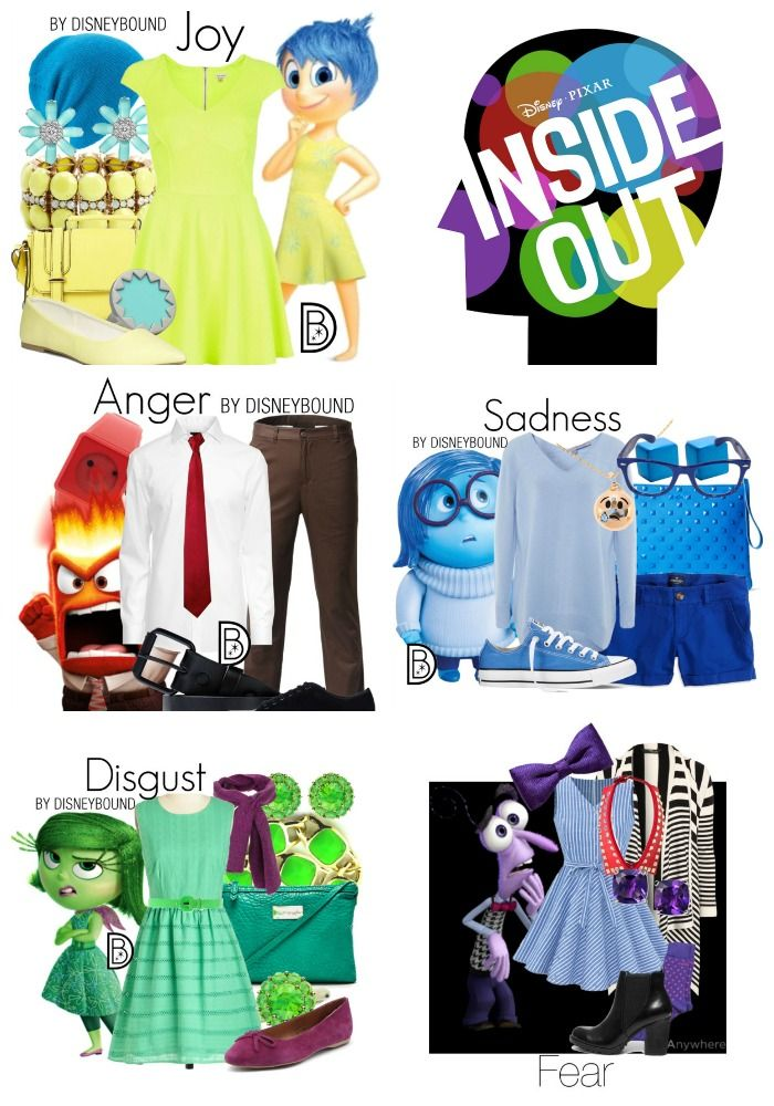 Dress in style as your favorite Inside Out Emotion (also known as DisneyBounding)!