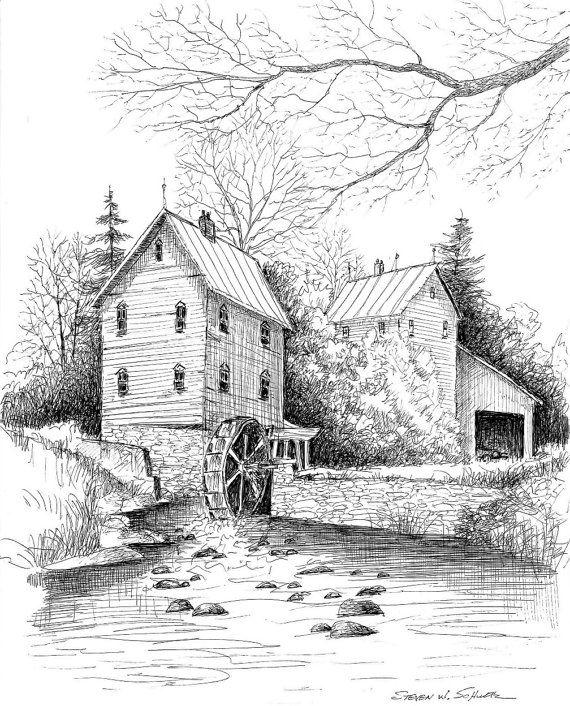 River Mill 10.5 x 13 Hand Signed Limited Edition - World Famous Award Winning Artist Steven W. Schultz - Pen & Ink Landscape Art Print