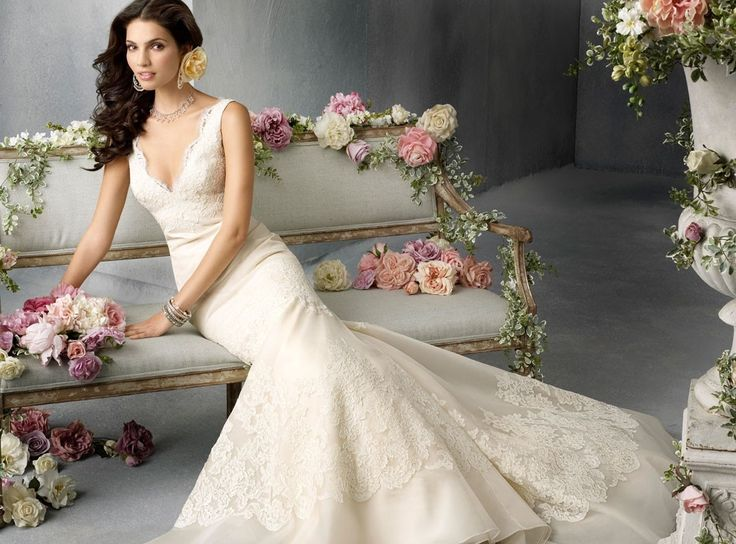 V-neck Chapel Train Mermaid Organza Lace Wedding Dress(WD0620)
