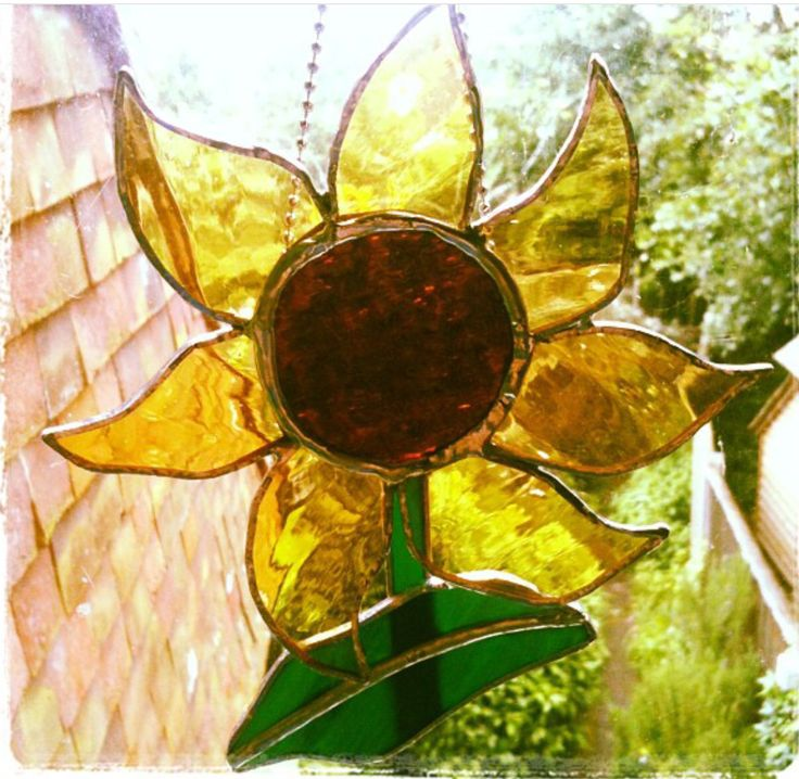 Copper foil stained glass sunflower