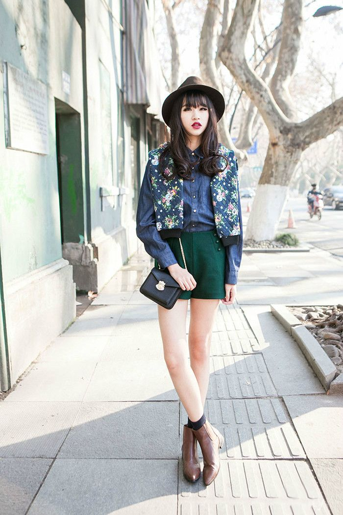 floral jacket + denim long sleeved top + green bandage skirt + black socks + brown boots