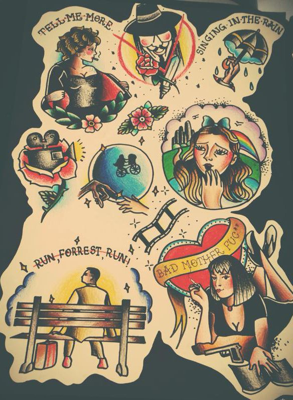 "Tattoo Flash ""Cinema"" by Fernanda Milanello, via Behance"
