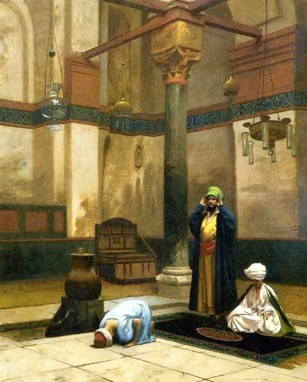 Jean-Léon Gérôme ( 1824 – 1904)  –  Three Worshippers Praying in a Cornerof a  Mosque
