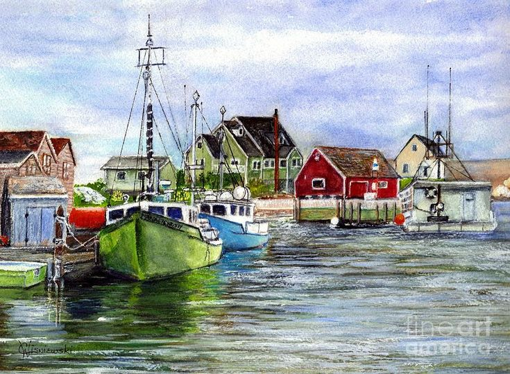 Carol Wisniewski WATERCOLOR Halifax Nova Scotia Peggys Cove