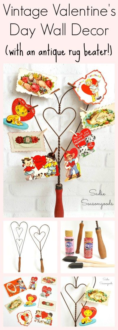 A heart-shaped, antique wire rug beater is perfect to repurpose as DIY decor for Valentine's Day! I used one to display some of my vintage valentines cards using miniature clothespins, and I can hang it on the wall. Isn't that a darling upcycle craft project? Happy Valentine's Day! #SadieSeasongoods / www.sadieseasongoods.com
